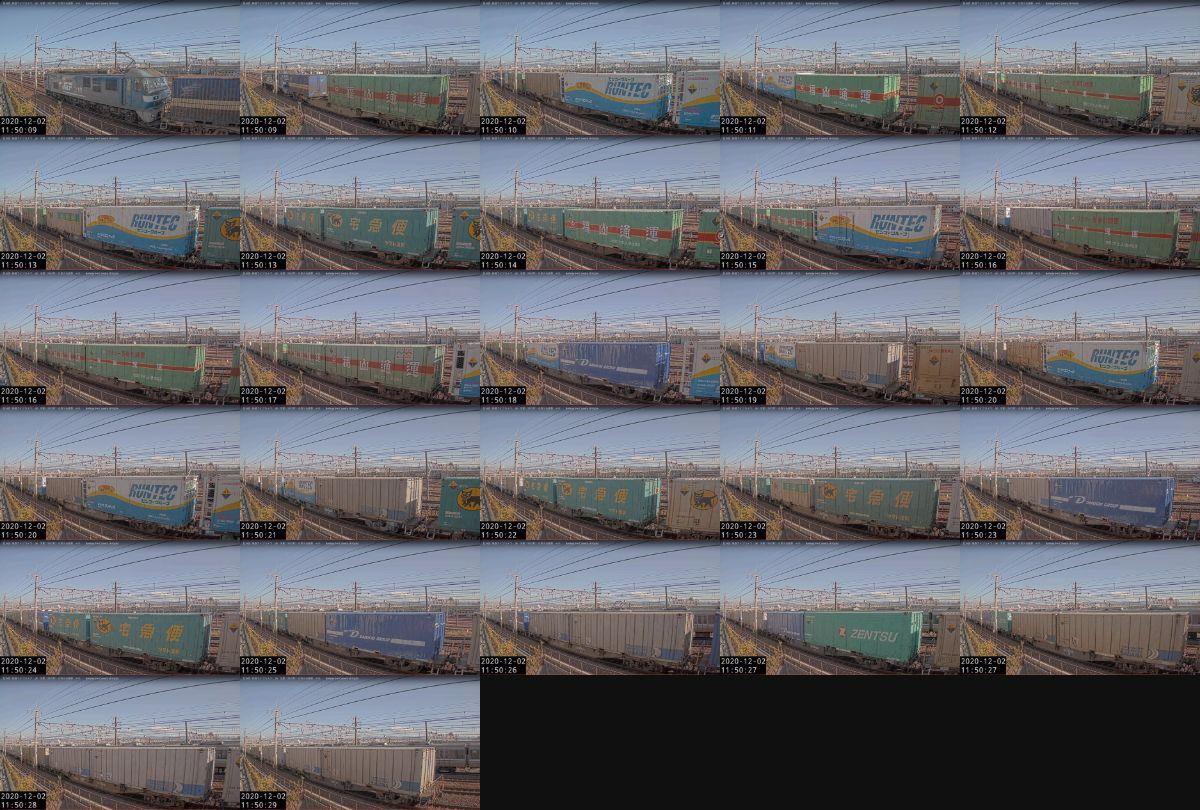2020年12月2日発 1050レ(福岡貨物ターミナル → 東京貨物ターミナル)の列車編成