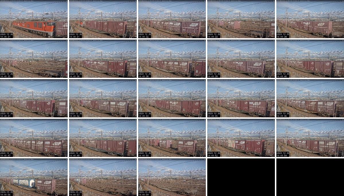 2020年12月20日発 3095レ(大阪貨物ターミナル → 金沢貨物ターミナル)の列車編成