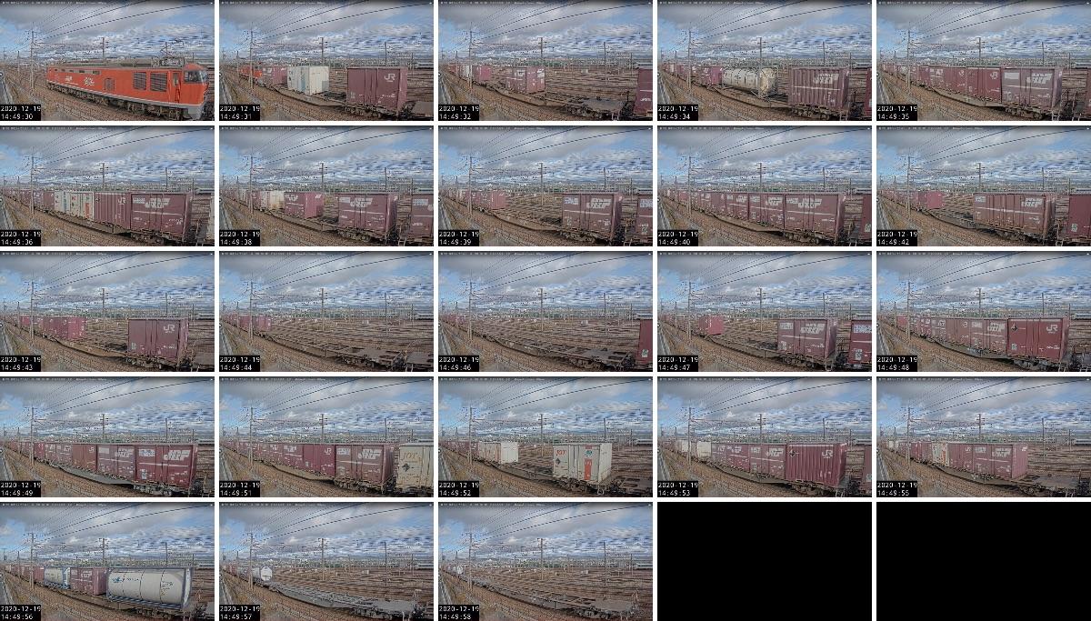 2020年12月19日発 3095レ(大阪貨物ターミナル → 金沢貨物ターミナル)の列車編成