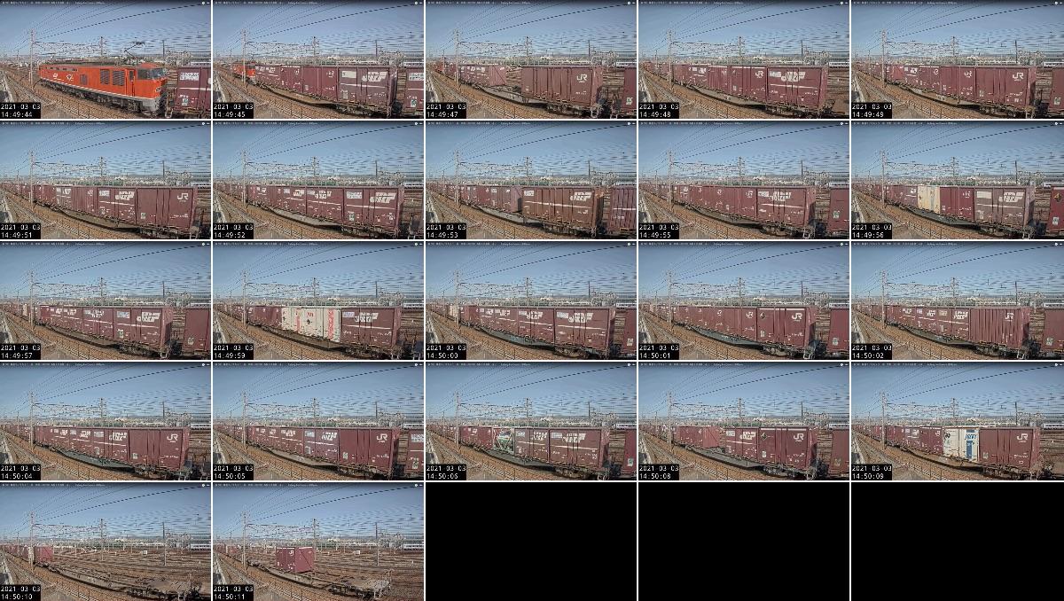 2021年3月3日発 3095レ(大阪貨物ターミナル → 金沢貨物ターミナル)の列車編成