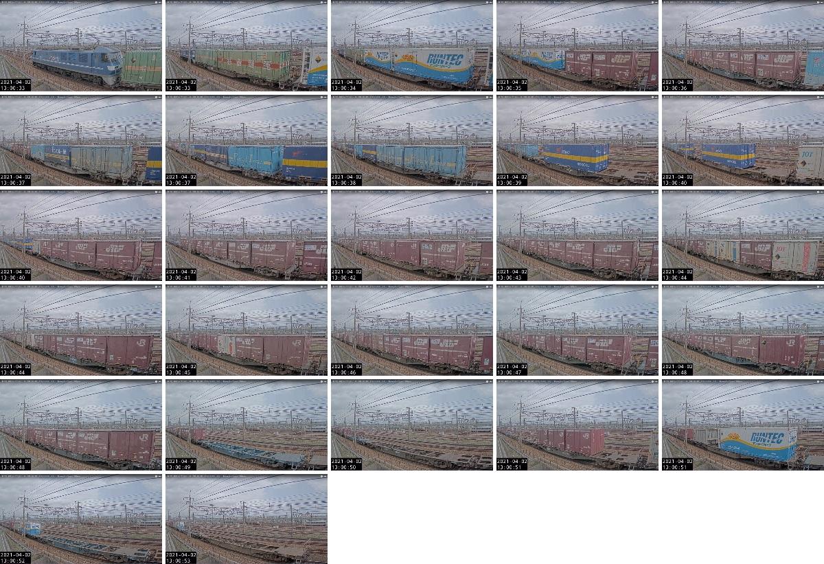 2021年4月1日発 1054レ(鍋島→東京貨物ターミナル)の列車編成
