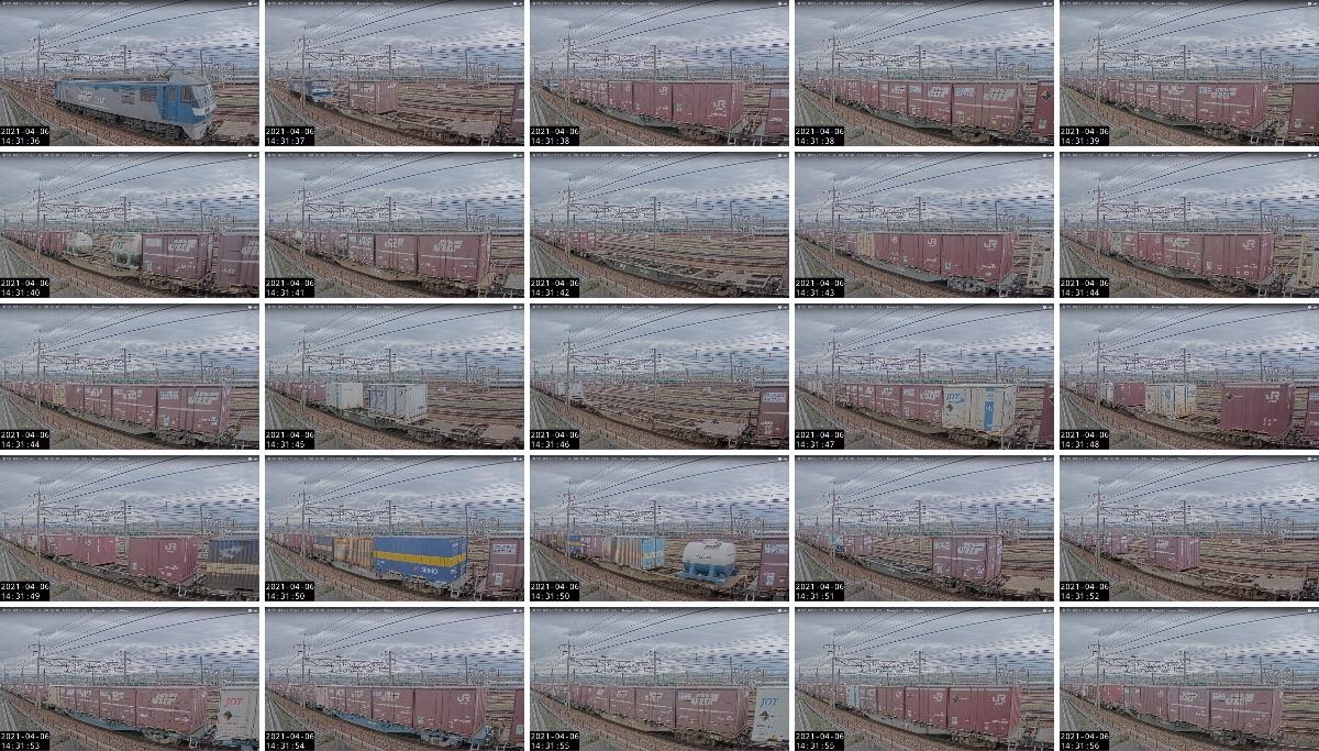 2021年4月6日発 5074レ(北九州貨物ターミナル → 東京貨物ターミナル)の列車編成